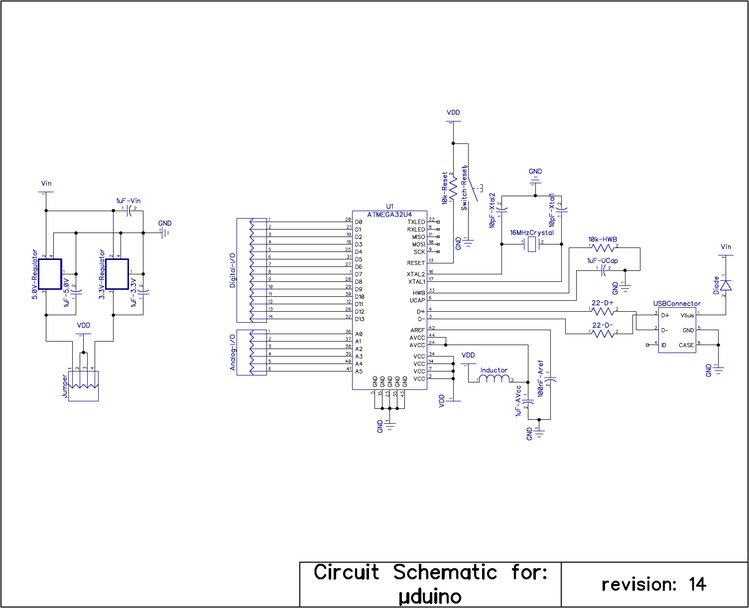 Schematic for the final µduino.