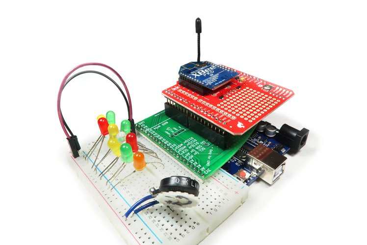 By BreadShield, you can use shields and breadboard together.