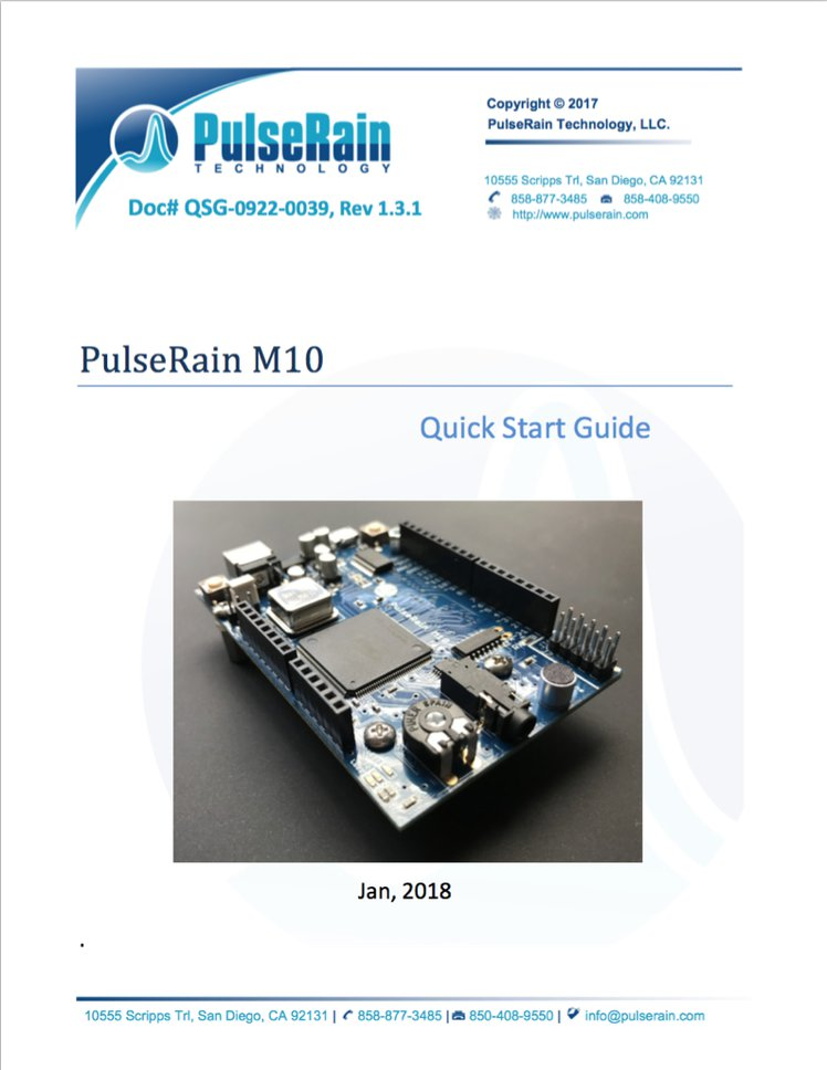 The front page of the PulseRain M10 Quick Start Guide.