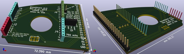 Front and back of BreadShield v0.3 in KiCAD.